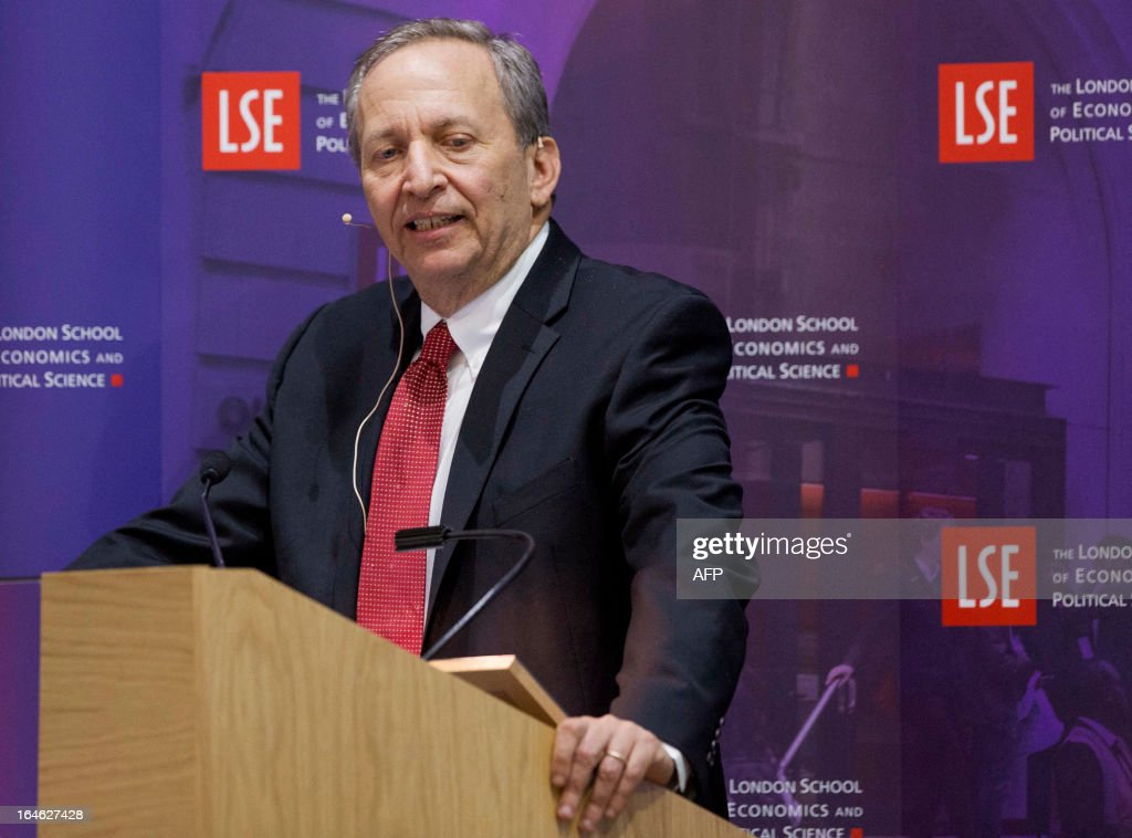 Former US Treasury Secretary Lawrence Summers speaks during a financial and economic event discussing the financial crisis at the London School of Economics (LSE) in London on March 25, 2013. At the discussion which was attended by speakers including Bank of England governor Mervyn King, US Federal Reserve Chairman Ben Bernanke, UBS chairman Axel Weber and former US Treasury Secretary Lawrence Summers Bernanke rejected worries that the world's leading economies were competitively cutting their currency values. AFP PHOTO / POOL / JASON ALDEN