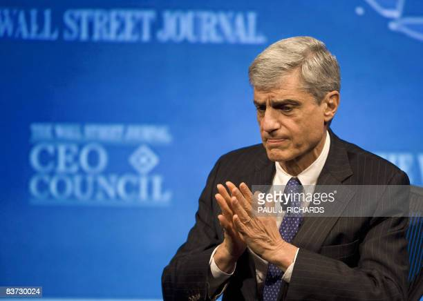 Former US Treasury Secretary Robert Rubin listens during the CEO Council economic conference sponsored by The Wall Street Journal at the Four Seasons...