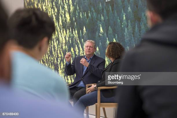 Former US Vice President Al Gore chairman and president of Generation Investment Management LLP speaks during a meeting with Lisa Jackson vice...