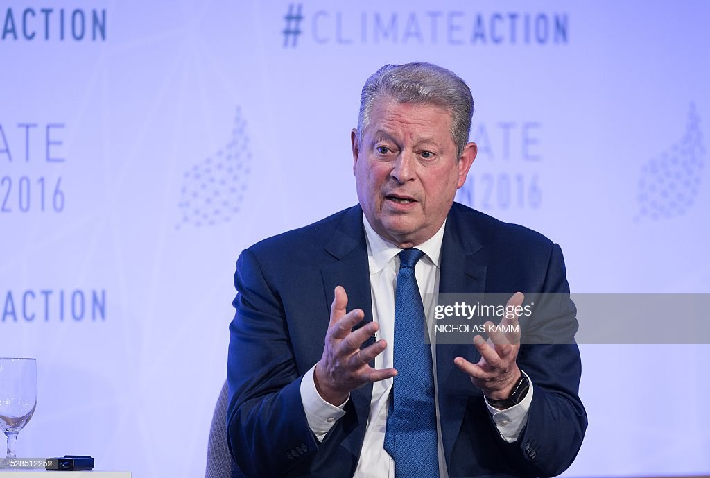 Former US Vice President Al Gore participates in a conversation on 'Climate Action: A Convenient Truth' at the Climate Action 2016 conference in Washington, DC, on May 5, 2016. / AFP / NICHOLAS