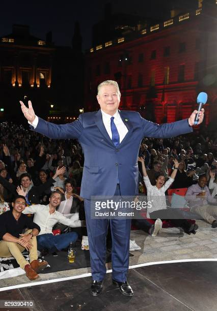 Former US Vice President Al Gore poses on stage at the Film4 Summer Screen Opening Screening of 'An Inconvenient Sequel Truth To Power' at Somerset...