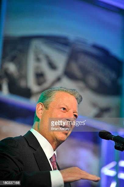 Former US Vice President Al Gore speaks at the NASCAR Green Summit on September 11 2013 in Chicago Illinois Featured discussions focused on the...