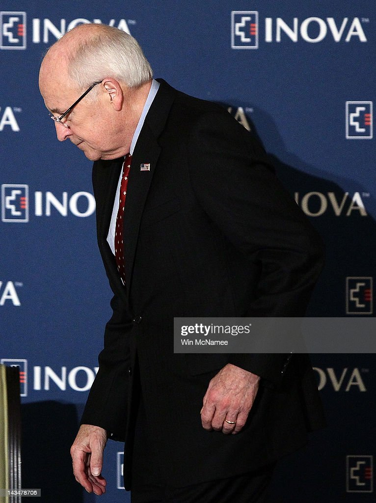 Former U.S. Vice President <a gi-track='captionPersonalityLinkClicked' href=/galleries/search?phrase=Dick+Cheney&family=editorial&specificpeople=125149 ng-click='$event.stopPropagation()'>Dick Cheney</a> departs after speaking at the Inova Heart and Vascular Institute Cardiovascular Symposium April 27, 2012 in McLean, Virginia. Cheney discussed his recent heart transplant during his remarks to the symposium.