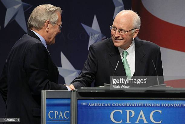 Former US Vice President Dick Cheney introduces former US Secretery of Defense Donald Rumsfeld at the Conservative Political Action conference on...