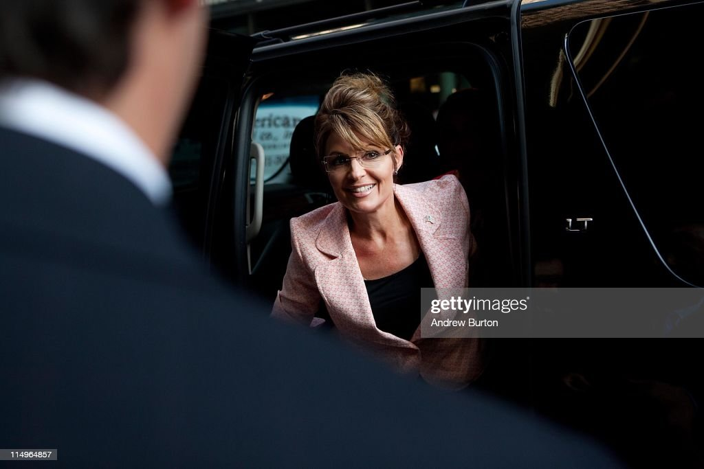Former U.S. Vice presidential candidate and Alaska Governor <a gi-track='captionPersonalityLinkClicked' href=/galleries/search?phrase=Sarah+Palin&family=editorial&specificpeople=4170348 ng-click='$event.stopPropagation()'>Sarah Palin</a> arrives at Trump Tower on 56th Street and 5th Avenue on May 31, 2011 in New York City. Palin and Donald Trump later exited the building for dinner.