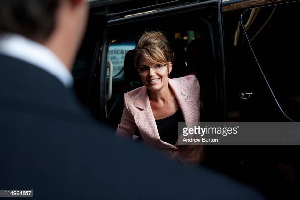 Former US Vice presidential candidate and Alaska Governor Sarah Palin arrives at Trump Tower on 56th Street and 5th Avenue on May 31 2011 in New York...