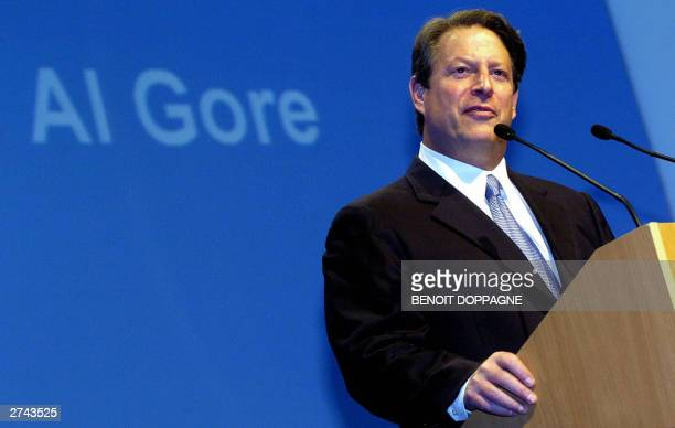 Former US VicePresident Al Gore delivers the closing speech at the '4X4 pour Entreprendre' economics symposium 19 November 2003 in LouvainlaNeuve AFP...