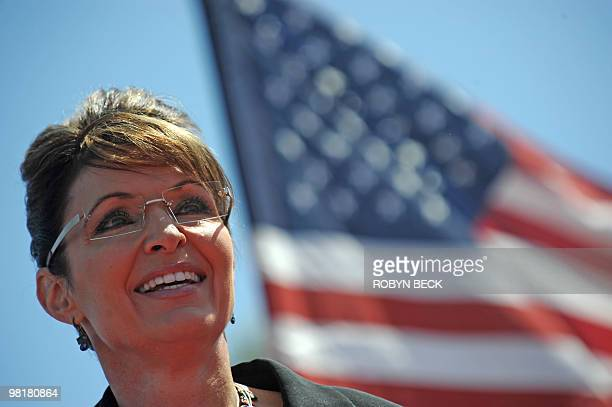 Former US vicepresidential candidate Sarah Palin speaks at a Tea Party rally in Searchlight Nevada on March 27 2010 Thousands of Tea Party activists...