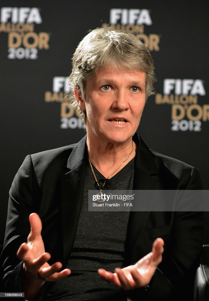 Former US Women's Soccer Coach Pia Sundhage of Sweden is interviewed prior to the FIFA Ballon d'Or Gala 2012 at the Kongresshaus on January 7, 2013 in Zurich, Switzerland.