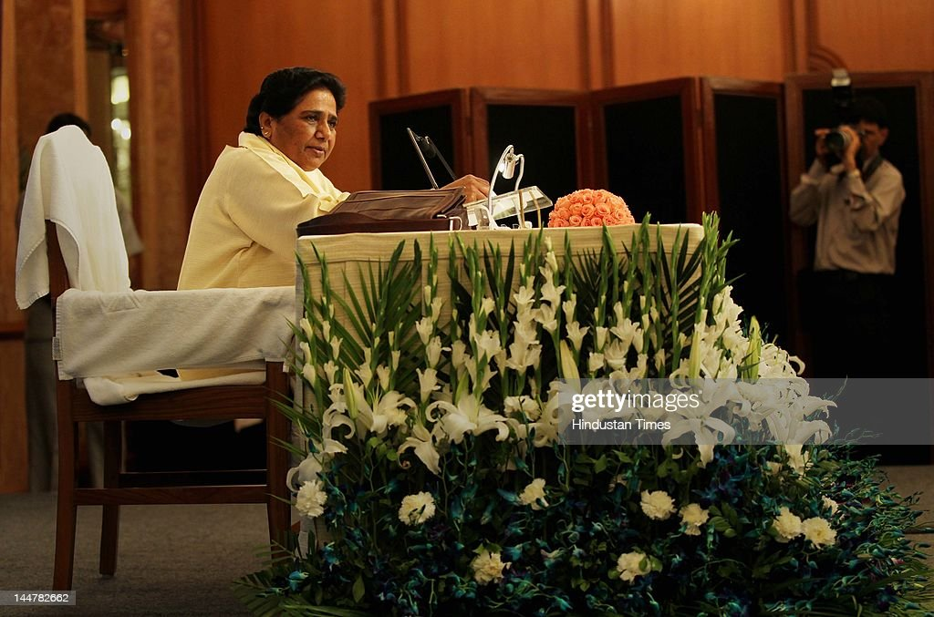 Former Uttar Pradesh Chief Minister and Rajya Sabha member Mayawati addresses a press conference on May 19, 2012 in New Delhi, India. She accused the Samajwadi party of indulging in political vendetta as it was ordering the probes into the work done in her tenure.