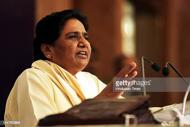 Former Uttar Pradesh Chief Minister and Rajya Sabha member Mayawati addresses a press conference on May 19 2012 in New Delhi India She accused the...