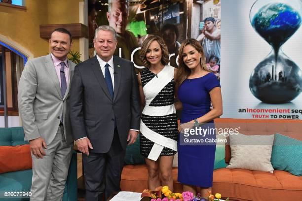 Former Vice President Al Gore and Despierta America cast are seen on the set of 'Despierta America' to promote the film An Inconvenient Sequel Truth...
