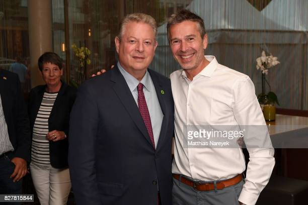 Former Vice President Al Gore and Dirk Steffens attend a special screening of 'An Inconvenient Sequel Truth to Power' at Zoo Palast on August 8 2017...