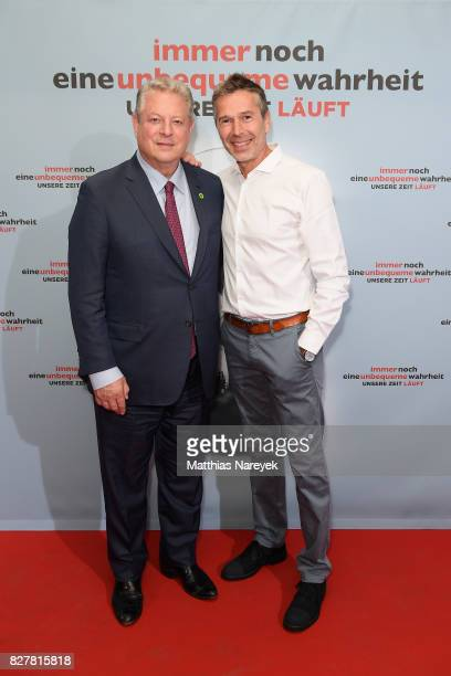 Former Vice President Al Gore and Dirk Steffens pose at a photo call for 'An Inconvenient Sequel Truth to Power' at Zoo Palast on August 8 2017 in...
