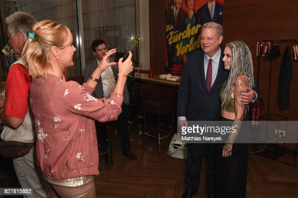 Former Vice President Al Gore and Jil Hagen pose at a special screening of 'An Inconvenient Sequel Truth to Power' at Zoo Palast on August 8 2017 in...