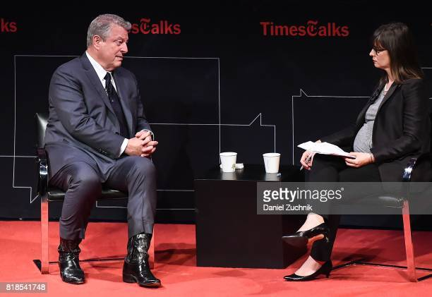 Former Vice President Al Gore and moderator Coral Davenport attend the Times Talks Presents Al Gore at Tribeca Performing Arts Center on July 18 2017...