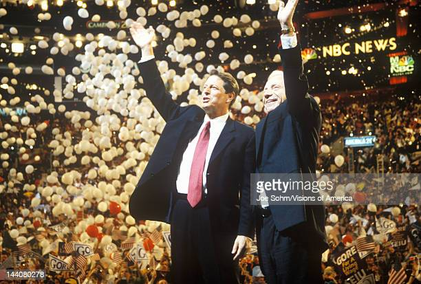 Former Vice President Al Gore and Senator Joe Lieberman's acceptance speech at the 2000 Democratic Convention at the Staples Center Los Angeles CA