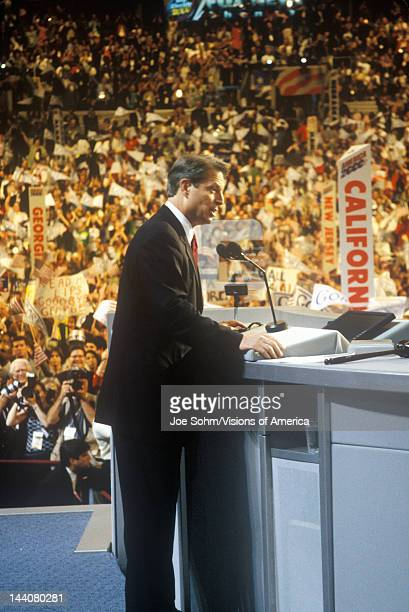Former Vice President Al Gore delivers acceptance speech at the 2000 Democratic Convention at the Staples Center Los Angeles CA
