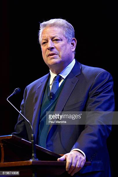 Former Vice President Al Gore discusses 'Confronting The Climate Crisis Critical Roles For The US And China'at Harvard University's Sanders Theatre...