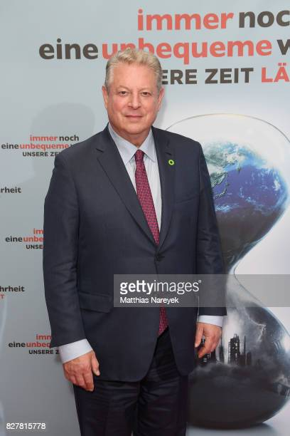 Former Vice President Al Gore pose at a photo call for 'An Inconvenient Sequel Truth to Power' at Zoo Palast on August 8 2017 in Berlin Germany