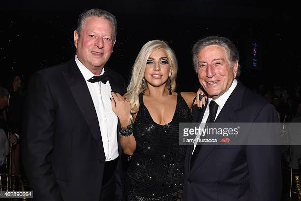 Former Vice President Al Gore singers Lady Gaga and Tony Bennett attend the 25th anniversary MusiCares 2015 Person Of The Year Gala honoring Bob...