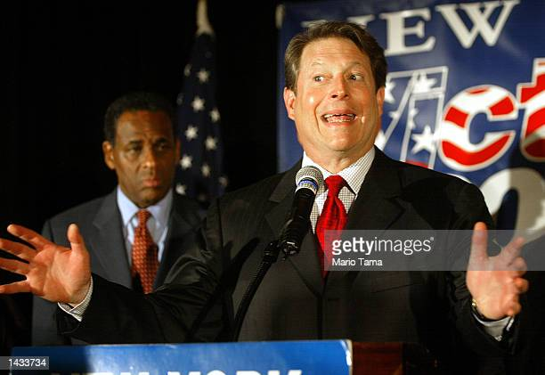 Former Vice President Al Gore speaks as New York State gubernatorial candidate H Carl McCall looks on during a McCall fundraiser September 26 2002 in...