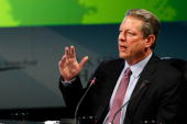 Former Vice President Al Gore speaks during the National Clean Energy Summit 20 at the Cox Pavilion at UNLV August 10 2009 in Las Vegas Nevada...