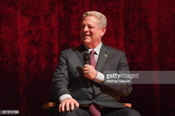 Former Vice President Al Gore speaks on stage at a QA after a special screening of 'An Inconvenient Sequel Truth to Power' at Zoo Palast on August 8...