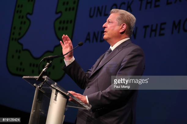 Former Vice President Al Gore speaks on stage prior to a special Washington DC screening of 'An Inconvenient Sequel Truth to Power' at The Newseum on...