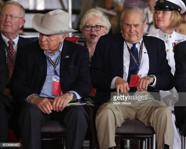 Former Vice President Dick Cheney and former Secretary of Defense Donald Rumsfeld attend a commissioning ceremony on board the USS Gerald R Ford CVN...