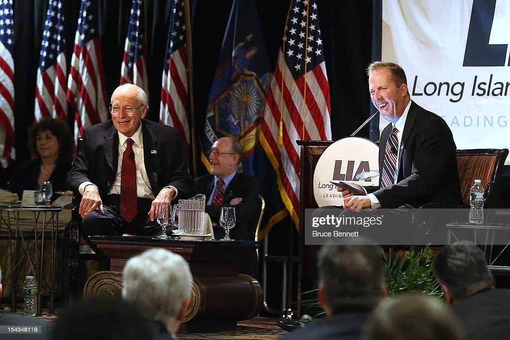 Former Vice President Dick Cheney and Kevin S. Law, President and CEO of the Long Island Association entertain at the LIA fall luncheon at the Crest Hollow Country Club on October 18, 2012 in Woodbury, New York. Cheney discussed foreign and domestic issues, including the upcoming presidential election, at the business organization's luncheon.