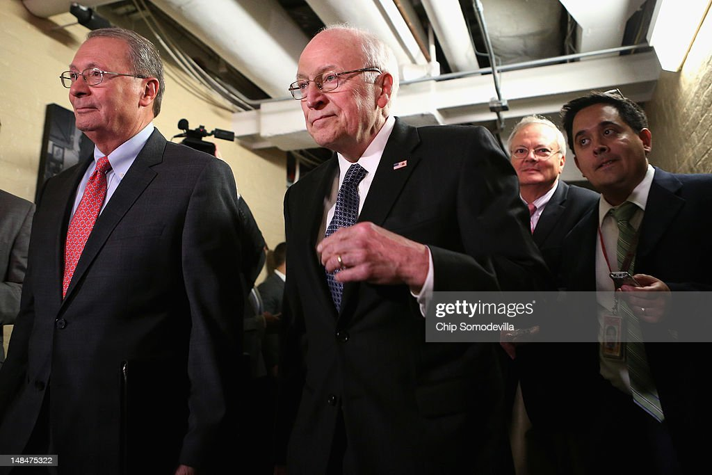 Former Vice President <a gi-track='captionPersonalityLinkClicked' href=/galleries/search?phrase=Dick+Cheney&family=editorial&specificpeople=125149 ng-click='$event.stopPropagation()'>Dick Cheney</a> arrives for a meeting with Republican members of the House of Representatives at the U.S. Capitol July 17, 2012 in Washington, DC. Cheney hosted a high-dollar fundraiser for GOP presidential candidate, former Massachusetts Gov. Mitt Romney July 12 in Wyoming.