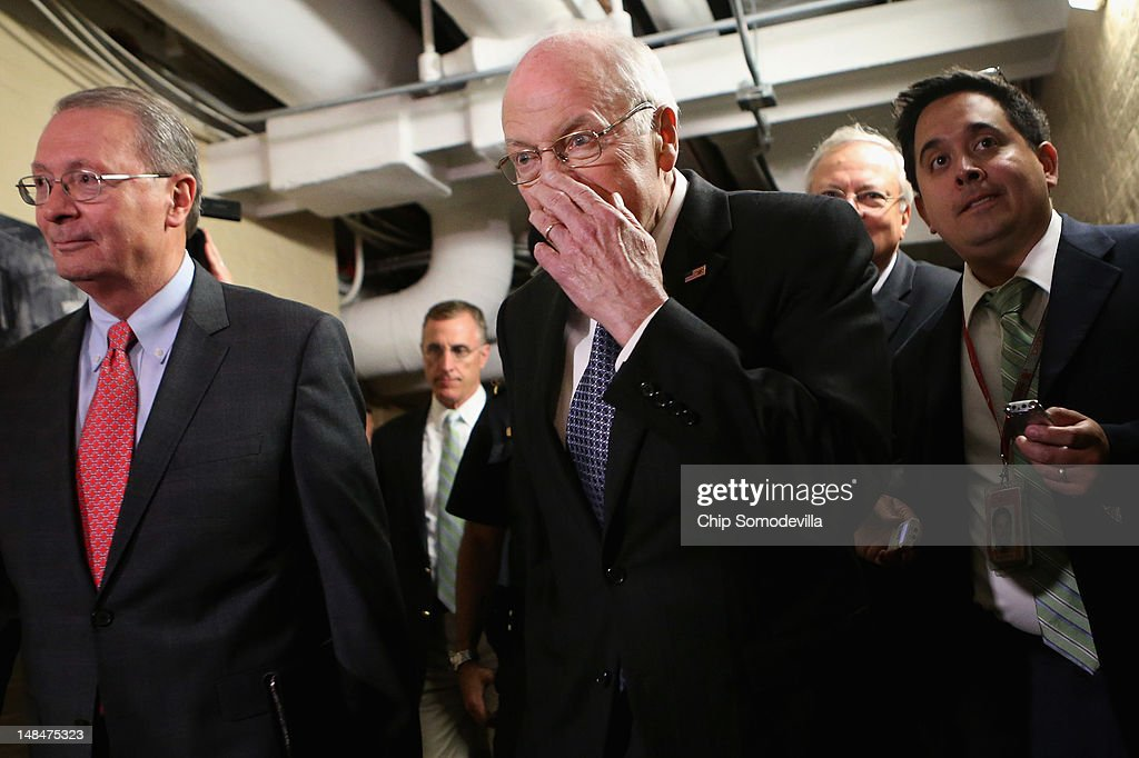 Former Vice President <a gi-track='captionPersonalityLinkClicked' href=/galleries/search?phrase=Dick+Cheney&family=editorial&specificpeople=125149 ng-click='$event.stopPropagation()'>Dick Cheney</a> (C) arrives for a meeting with Republican members of the House of Representatives at the U.S. Capitol July 17, 2012 in Washington, DC. Cheney hosted a high-dollar fundraiser for GOP presidential candidate, former Massachusetts Gov. Mitt Romney July 12 in Wyoming.