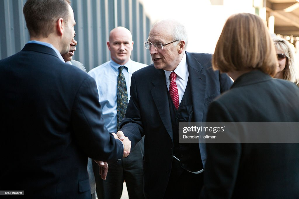 Former Vice President <a gi-track='captionPersonalityLinkClicked' href=/galleries/search?phrase=Dick+Cheney&family=editorial&specificpeople=125149 ng-click='$event.stopPropagation()'>Dick Cheney</a> (C) arrives to be interviewed by SiriusXM Patriot host David Webb at SiriusXM studios on October 25, 2011 in Washington, DC. Cheney recently released his memoir, 'In My Time.'