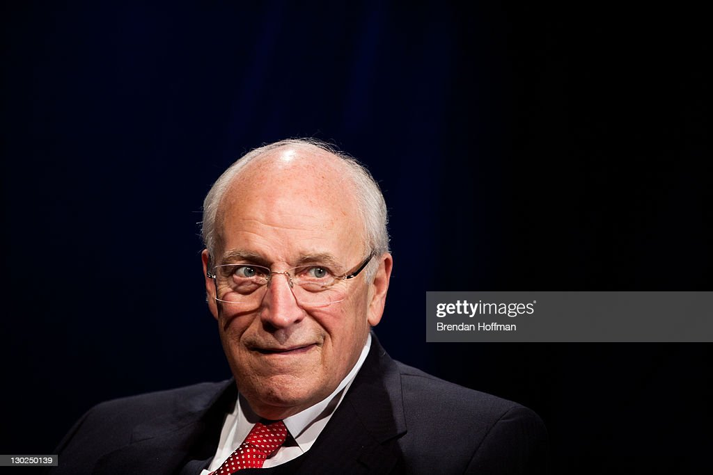 Former Vice President <a gi-track='captionPersonalityLinkClicked' href=/galleries/search?phrase=Dick+Cheney&family=editorial&specificpeople=125149 ng-click='$event.stopPropagation()'>Dick Cheney</a> is interviewed by SiriusXM Patriot host David Webb at SiriusXM studios on October 25, 2011 in Washington, DC. Cheney recently released his memoir, 'In My Time.'
