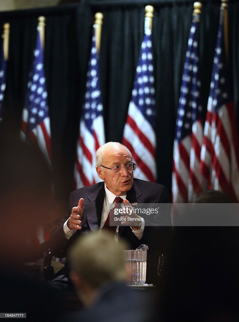Former Vice President Dick Cheney speaks at the Long Island Association fall luncheon at the Crest Hollow Country Club on October 18, 2012 in Woodbury, New York. Cheney discussed foreign and domestic issues, including the upcoming presidential election, at the business organization's luncheon.