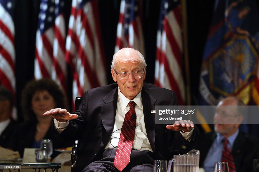 Former Vice President <a gi-track='captionPersonalityLinkClicked' href=/galleries/search?phrase=Dick+Cheney&family=editorial&specificpeople=125149 ng-click='$event.stopPropagation()'>Dick Cheney</a> speaks at the Long Island Association fall luncheon at the Crest Hollow Country Club on October 18, 2012 in Woodbury, New York. Cheney discussed foreign and domestic issues, including the upcoming presidential election, at the business organization's luncheon.