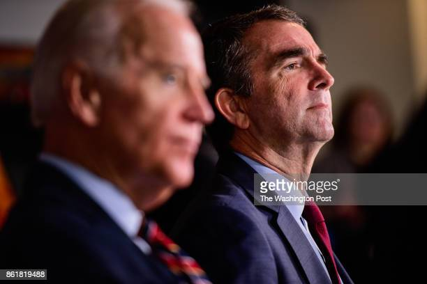 Former Vice President Joe Biden and Virginia's Democratic candidate for governor Ralph Northam during a roundtable discussion campaign event on...