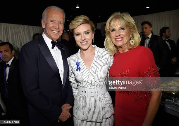 Former Vice President Joe Biden Scarlett Johansson and Jill Biden attend the 2017 Tony Awards at Radio City Music Hall on June 11 2017 in New York...