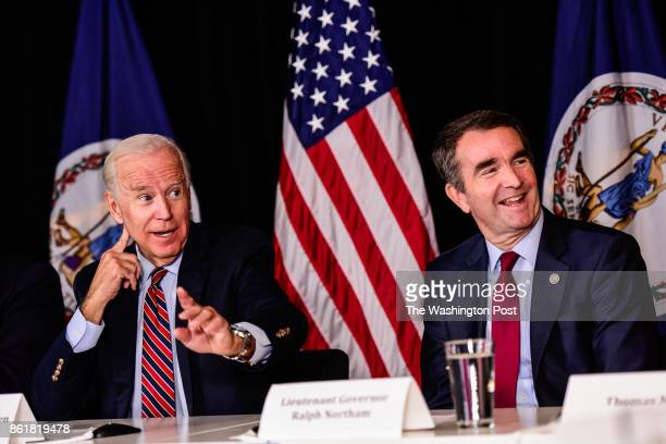 Former Vice President Joe Biden speaks during a roundtable discussion campaign event on workforce development with Virginia's Democratic candidate...