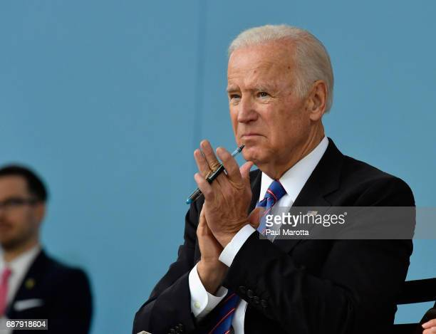 Former Vice President Joseph Biden speaks at the Harvard College Class of 2017 Class Day Exercises at Harvard University on May 24 2017 in Cambridge...