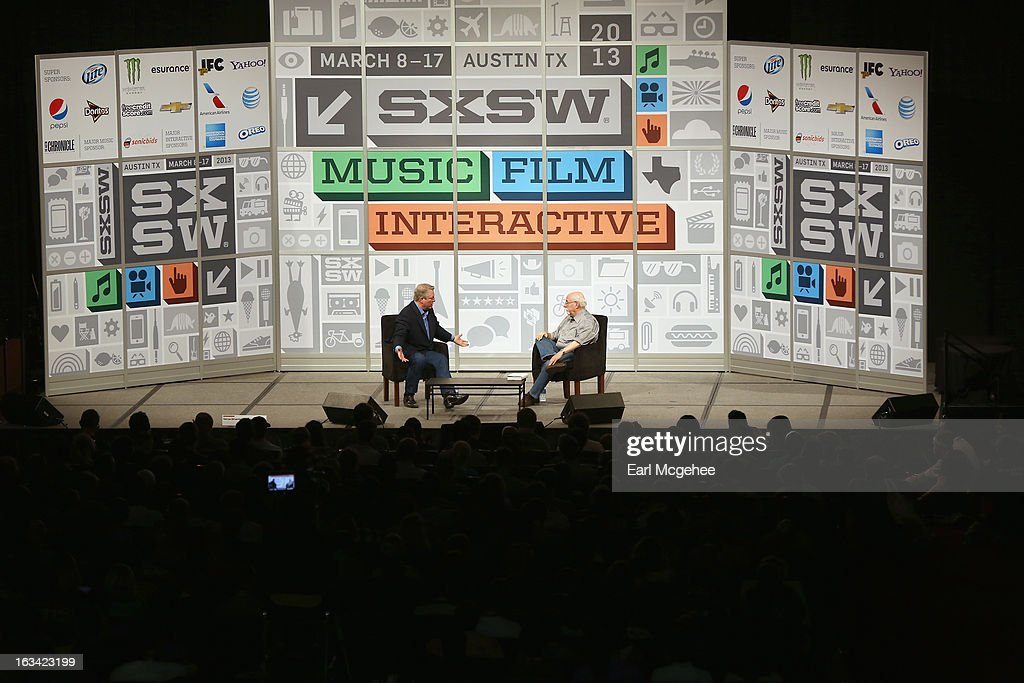 Former Vice President of the United States Al Gore and journalist Walt Mossberg speak onstage at Al Gore On The Future during the 2013 SXSW Music, Film + Interactive Festival at Austin Convention Center on March 9, 2013 in Austin, Texas.