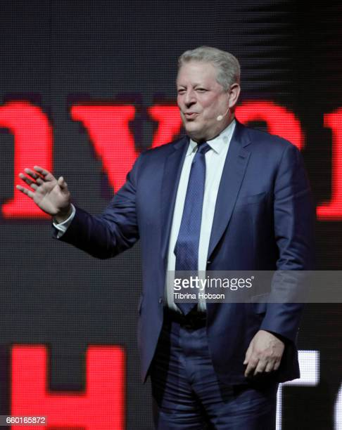 Former Vice President of the United States Al Gore speaks at Paramount Pictures' presentation highlighting its 2017 summer and beyond during...