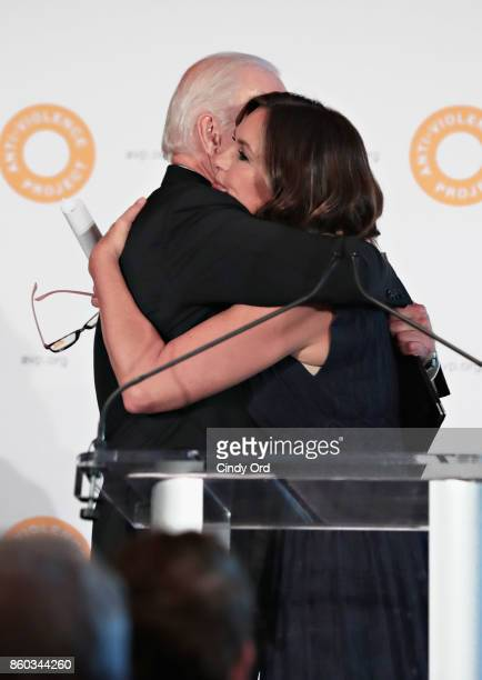 Former Vice President of the United States Joe Biden hugs actress Mariska Hargitay during the 2017 AntiViolence Project Courage Awards at Pier 59 on...