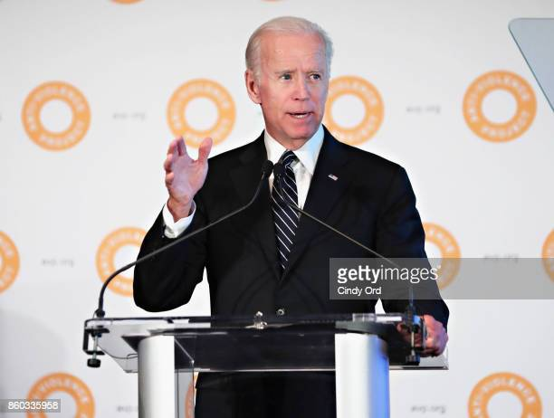 Former Vice President of the United States Joe Biden speaks during the 2017 AntiViolence Project Courage Awards at Pier 59 on October 11 2017 in New...