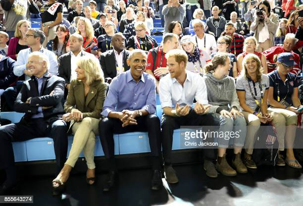 Former Vice President of the US Joe Biden former second lady of the US Jill Biden former US President Barack Obama and Prince Harry on day 7 of the...