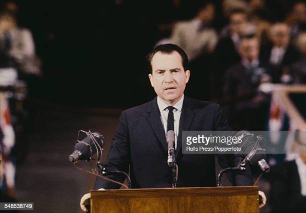 Former Vice President Richard Nixon addresses delegates and supporters of Senator Barry Goldwater at the Republican Party National Convention at the...