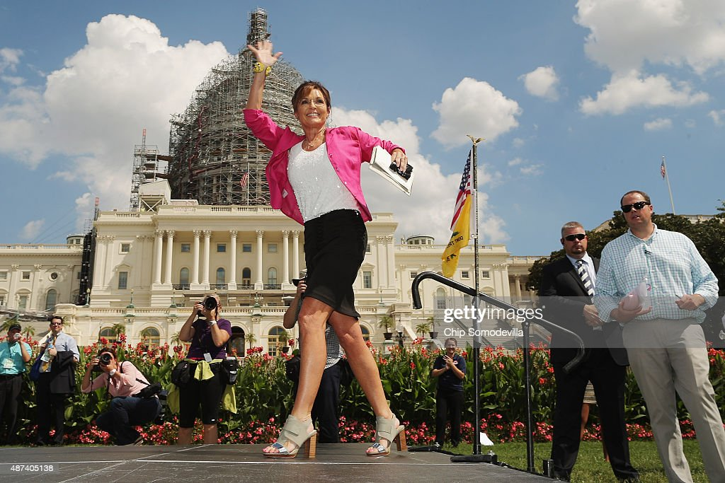 Former vice presidential candidate <a gi-track='captionPersonalityLinkClicked' href=/galleries/search?phrase=Sarah+Palin&family=editorial&specificpeople=4170348 ng-click='$event.stopPropagation()'>Sarah Palin</a> takes the stage during a rally against the Iran nuclear deal on the West Lawn of the U.S. Capitol September 9, 2015 in Washington, DC. Thousands of people gathered for the rally, organized by the Tea Party Patriots, which featured conservative pundits and politicians.