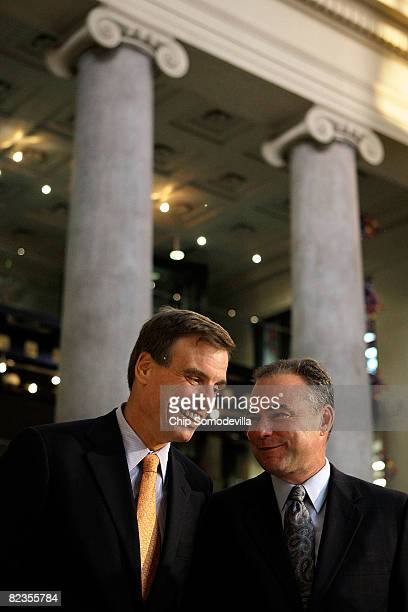 Former Virginia Gov and Democratic candidate for US Senate Mark Warner and Virginia Gov Tim Kaine talk during a fundraising event at the Science...
