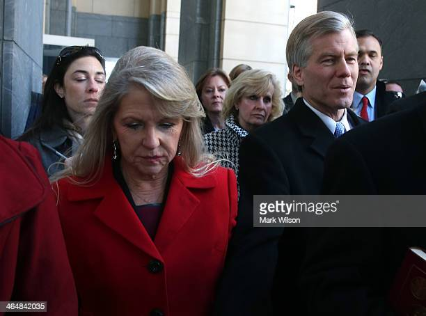 Former Virginia Gov Bob McDonnell and his wife Maureen leave the US District Court for the Eastern District of Virginia on January 24 2014 in...
